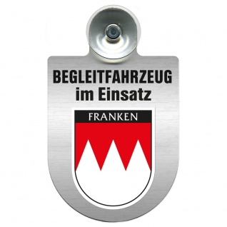 Einsatzschild Windschutzscheibe incl. Saugnapf - Begleitfahrzeug im Einsatz - 309457 - Region Franken