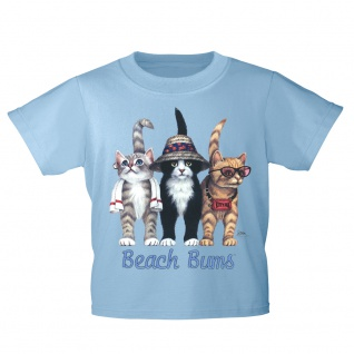 Kinder T-Shirt mit Print Cat Katzen Strandkatzen Beach Bums KA060/1 Gr. 122-164