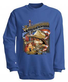 S-Shirt mit Print - American Way... - S10249 - versch. farben zur Wahl - Gr. blau / S