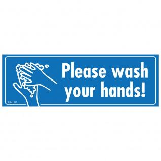 Warnschild - Please wash your hands - Gr. ca. 15 x 5 cm - 307528/2 - Schutz vor Viren, Keime und Bakterien