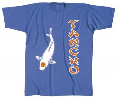 T-SHIRT mit Print - KOI Tancho - KO244 blau - Gr. S-2XL