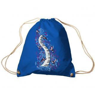 Trend-Bag Turnbeutel Sporttasche Rucksack mit Print -Klavier und Vögel - TB09018 Royal