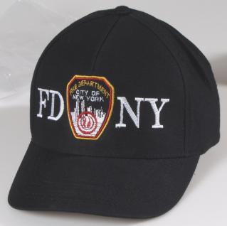 Baseballcap-CAP mit Bestickung - Fire Department New York ... F D N Y - 68289 schwarz - Baumwollcap Baseballcap Cappy Kappe