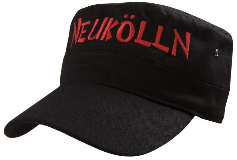 Military - Cap mit Neukölln - Stickerei - Neukölln - 60519 schwarz - Baumwollcap Baseballcap Hut Cappy Schirmmütze