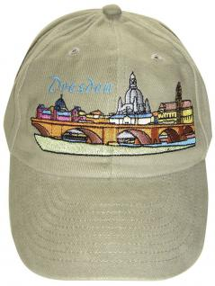 Cap - Schirmmütze gross und bunt bestickt - Dresden Sehenswürdigkeiten - 68857 beige - Baumwollcap Cappy Baseballcap Hut