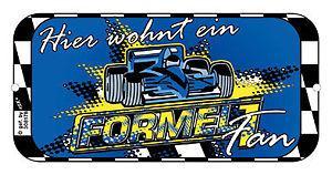 Hinweisschild Tür - Hier wohnt ein Formel 1 Fan - 308178
