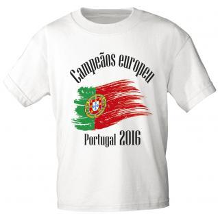 Marken T- Shirt mit Aufdruck Europameister Portugal 12126 S