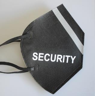 1 FFP2 Maske in Schwarz mit fluoreszierenden Streifen und Print - SECURITY - 15385