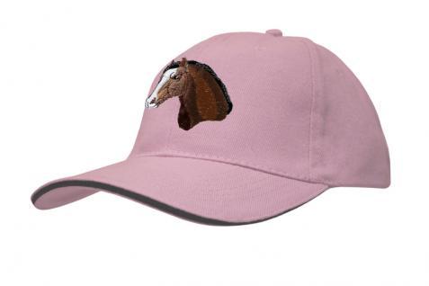 Cap mit gr. Pferde - Stick - Pferdekopf - 69250-3 rosa - Baumwollcap Baseballcap Hut Cappy Schirmmütze