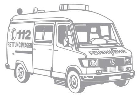 Aufkleber Wandapplikation - Rettungswagen - AP1011 - versch. Farben und Größen silber / 90cm
