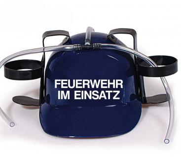 Trinkhelm Spaßhelm mit Printmotiv - Feuerwehr im Einsatz - 51645 - versch. Farben zur Wahl blau