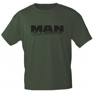 T-Shirt mit Print -MAN on a Mission - 12188 Gr. S / oliv