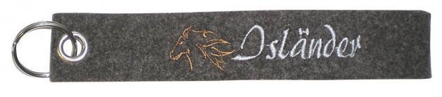 Filz-Schlüsselanhänger mit Stick ISLÄNDER Gr. ca. 17x3cm 14078 Keyholder grau