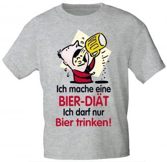 T-Shirt unisex mit Print - Ich mache eine Bier-Diät - 09415 hellgrau - Gr. S