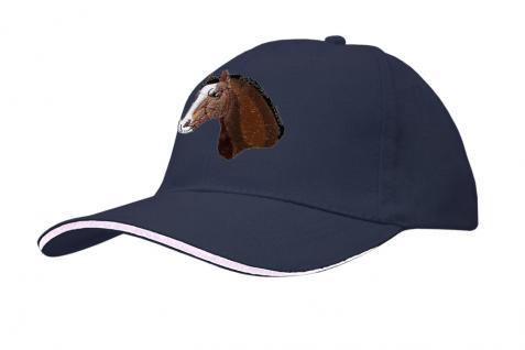 Baseballcap mit Einstickung - Pferd Pferdekopf weiße Plesse - versch. Farben 69250 dunkelblau