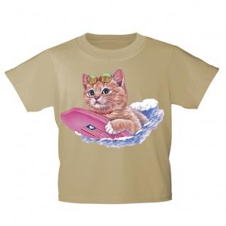 Kinder T-Shirt mit Print Cat Katze auf Surfbrett KA074/1 Gr. beige / 122/128