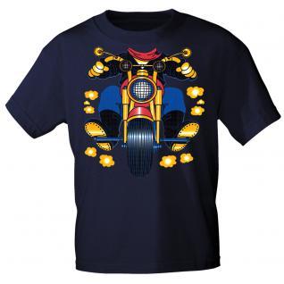 Kinder Marken-T-Shirt mit Motivdruck in 13 Farben Motorrad K12780 110/116 / Navy