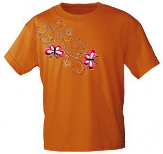 (12853) T- Shirt mit Glitzersteinen Gr. S - XXL in 16 Farben L / Orange