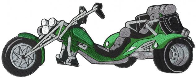 Rückenaufnäher - Trike grün - 08568 - Gr. ca. 30 x 12 cm - Patches Stick Applikation
