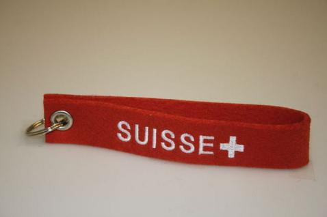 Filz-Schlüsselanhänger mit Stick - Suisse - Gr. ca. 17x3cm - 14242