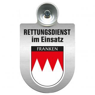 Einsatzschild Windschutzscheibe incl. Saugnapf - Rettungsdienst im Einsatz - 309354-18 - Region Franken