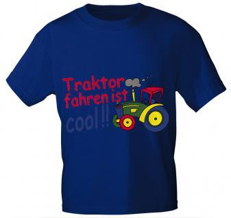 Kinder T-Shirt mit Aufdruck - TRAKTOR FAHREN IST COOL - 08233 - Gr. 86 - 164 in 5 Farben blau / 152/164
