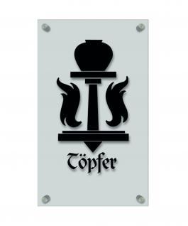 Zunftschild Handwerkerschild - Töpfer - beschriftet auf edler Acryl-Kunststoff-Platte ? 309416 schwarz
