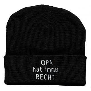 Hip Hop Mütze schwarz mit Einstickung - Opa hat immer Recht - 54313