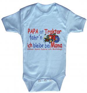 Babystrampler mit Print - Papa ist Traktor fahrn ich bleib bei Mama - 08308 hellblau - 0-6 Monate
