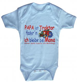 Babystrampler mit Print - Papa ist Traktor fahrn ich bleib bei Mama - 08308 hellblau - 6-12 Monate