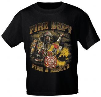 T-Shirt mit Print - Feuerwehr - 10588 - versch. Farben zur Wahl - Gr. S-2XL schwarz / XXL