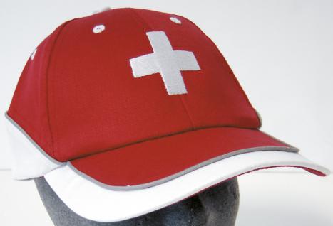 Baseballcap mit Kreuz - Einstickung - Switzerland schweizer Kreuz Wappen - 68147 rot weiss - Baumwollcap Hut Schirmmütze Cappy Cap