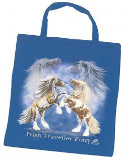 """Einkaufstasche Shopper Stofftasche Tasche Baumwolltasche mit Pferdemotiv Druck """" Irish Traveller Pony"""" NEU (08877)"""