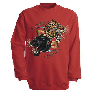 "Sweat- Shirt mit Motivdruck in 6 Farben "" Leopard"" S12679 rot / XL"