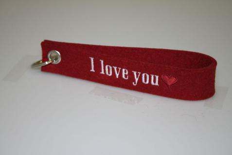 Filz-Schlüsselanhänger mit Stick - I love You - Gr. ca. 17x3cm - 14422