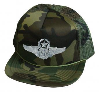 Militarycap Camouflage - Cap mit Stick - Wings Militär Heer - 69205-4 grün - Baumwollcap Baseballcap Hut Cappy Schirmmütze