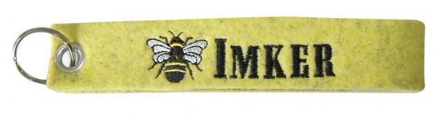Filz-Schlüsselanhänger mit Stick Biene IMKER Gr. ca. 17x3cm 14086 Keyholder gelb