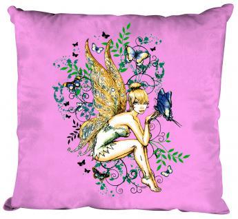 Dekokissen mit Print - Elfe Fee - Größe ca. 40 x 40 cm K10972 rosa