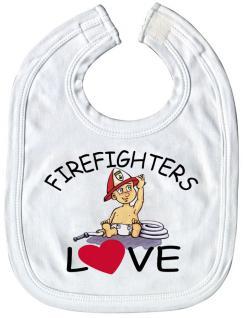 Baby-Lätzchen mit Druckmotiv - Firefighters Love - 08423 - weiss