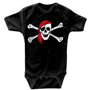 Babystrampler mit Print ? Pirat Seeräuber - 08368 schwarz Gr. 6-12 Monate