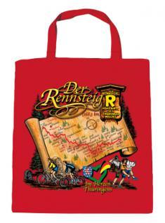 """(08801) Umweltfreundliche Baumwoll - Tasche , ca. 28 x 43 cm mit Druck """" Der Rennsteig"""" in 5 Farben rot"""