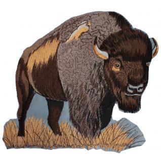 Rückenaufnäher - Büffel Ochse - Gr. ca. 27cm x 26cm - 08038 grau