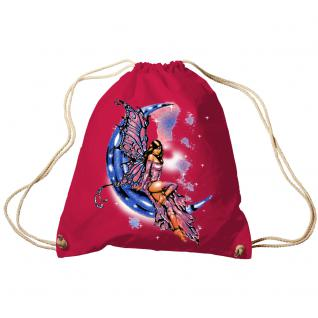 Trend-Bag Turnbeutel Sporttasche Rucksack mit Print - Fee auf dem Mond - TB10899 rot