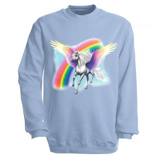 "Sweat- Shirt mit Motivdruck in 7 Farben "" Pegasus"" S12664 hellblau / S"