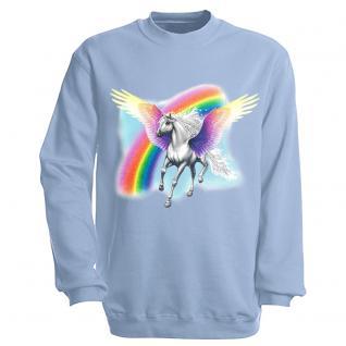 "Sweat- Shirt mit Motivdruck in 7 Farben "" Pegasus"" S12664 hellblau / XL"
