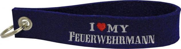 Filz-Schlüsselanhänger mit Stick I love my Feuerwehrmann Gr. ca. 17x3cm 14074 dunkelblau