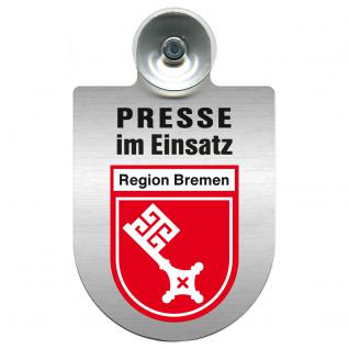 Einsatzschild Windschutzscheibe incl. Saugnapf - Presse im Einsatz - 309456-16 Region Bremen