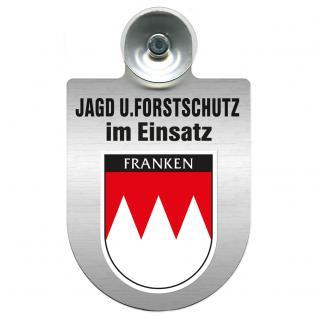 Einsatzschild für Windschutzscheibe incl. Saugnapf - Jagd + Forstschutz im Einsatz - 309729-18 Region Franken