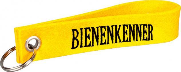 Filz-Schlüsselanhänger mit Stick Bienenkenner Gr. ca. 17x3cm 14476 gelb