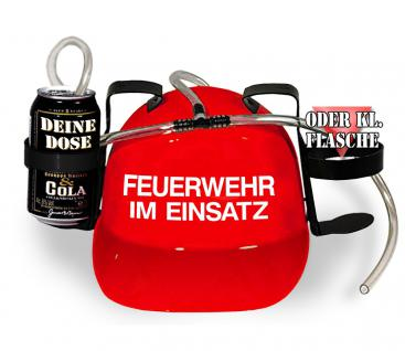 Trinkhelm Spaßhelm mit Printmotiv - Feuerwehr im Einsatz - 51645 - versch. Farben zur Wahl rot